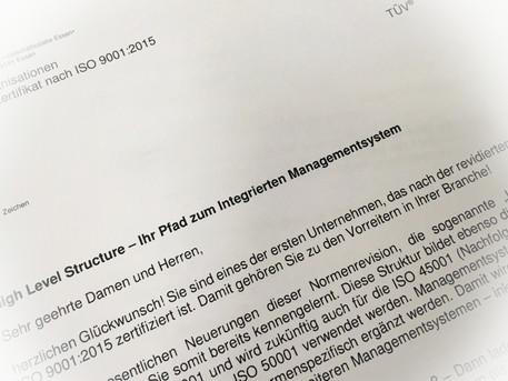 Re-Zertifizierung nach ISO 9001:2015 bei Stratmann