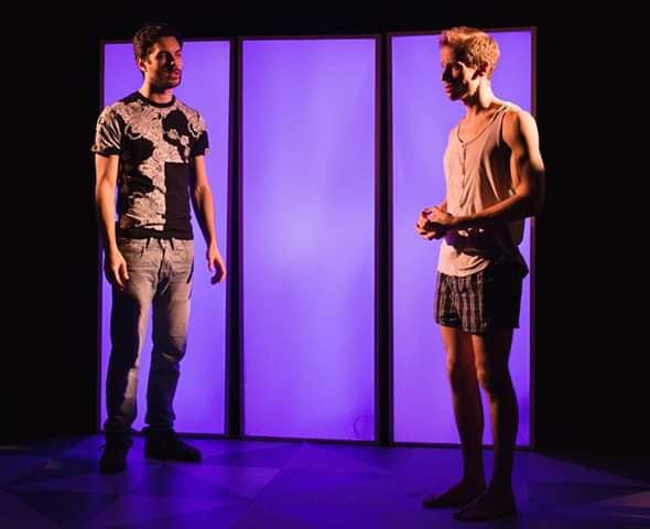 KOMPROMAT by David Thame Vault Festival, London 2019 Directed by Peter Darney Designed and made by Fionnula Blossom Max Rinehart as Zac Guy Warren-Thomas as Tom Sound design by Nicola Chang Lighting Design by Sheery Coenen Lynsey Bicker Stage managing Photography by Mark Senior