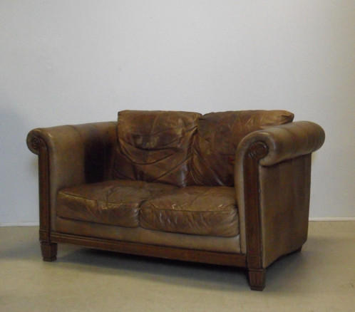 Attractive Tan Brown Leather 2 Seater Chesterfield Sofa With Wooden Trim At  The Front. Solid Sofa In Good Used Condition With Some Scuff Marks / Patina  ...