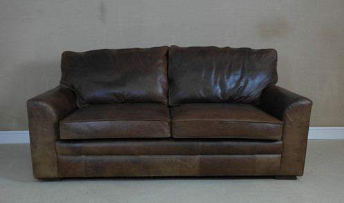 Vintage Style Halo The Tanning Company 3 Seater Brown Leather Sofa Structurally Sound Used Condition With Marks Distress Patina To