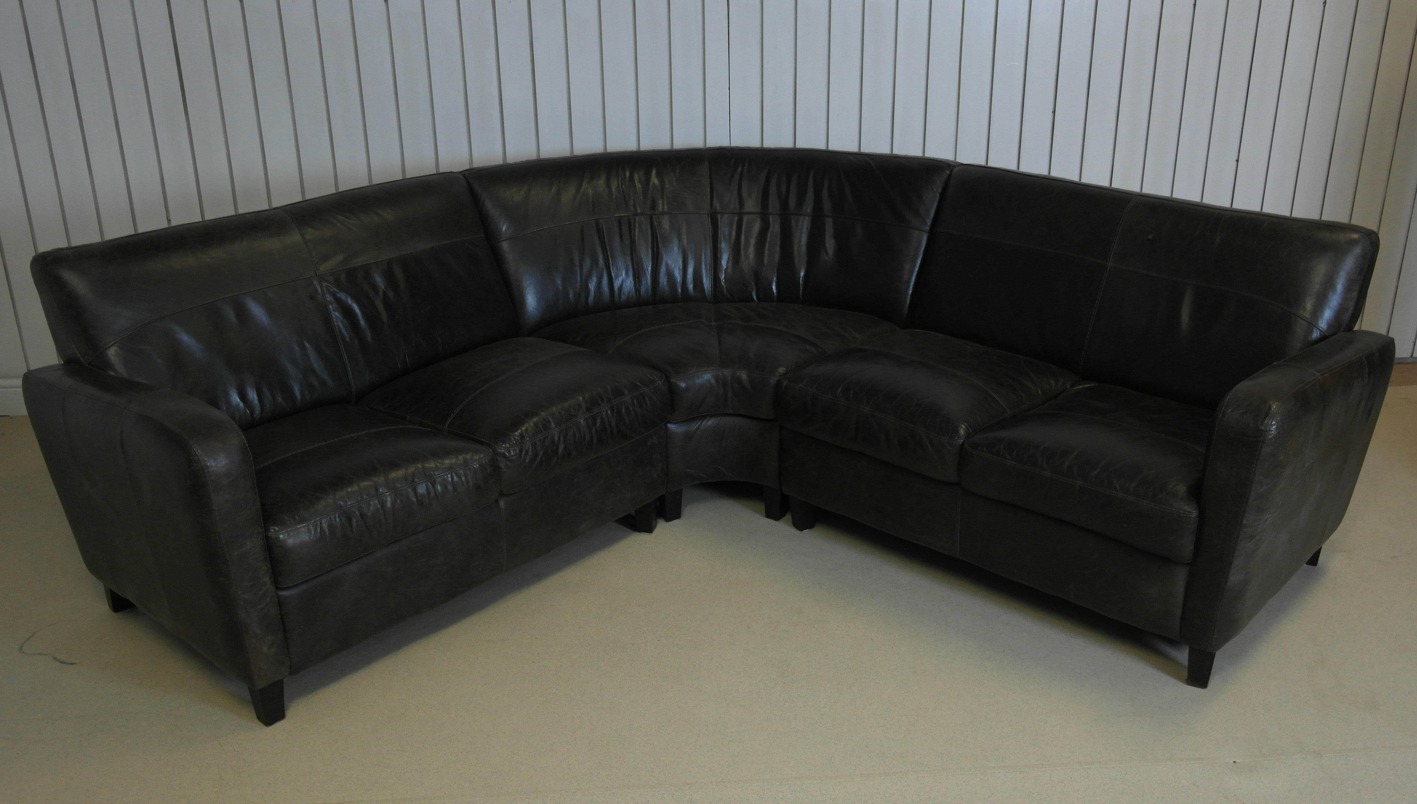 Modern Curved Back Corner Sofa In Dark Brown Leather