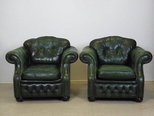 Www Mygreendaddy Com Pair Of Green Leather Chesterfield Armchairs
