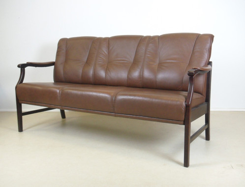 Brown Leather Danish Style 3 Seater Sofa Chair wwwmygreendaddycom