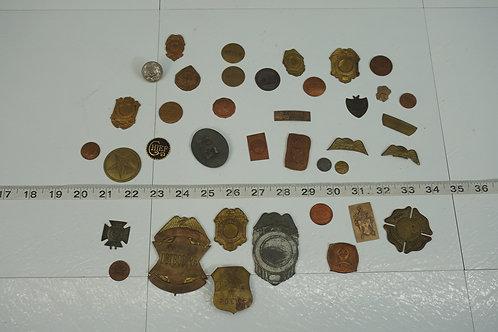 Lot Of Old Brass Badges