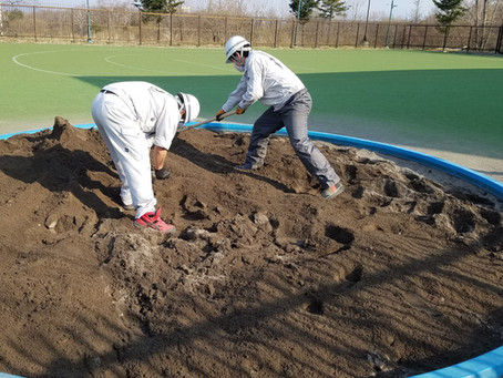 ベルツこども園 お砂場砂入れ