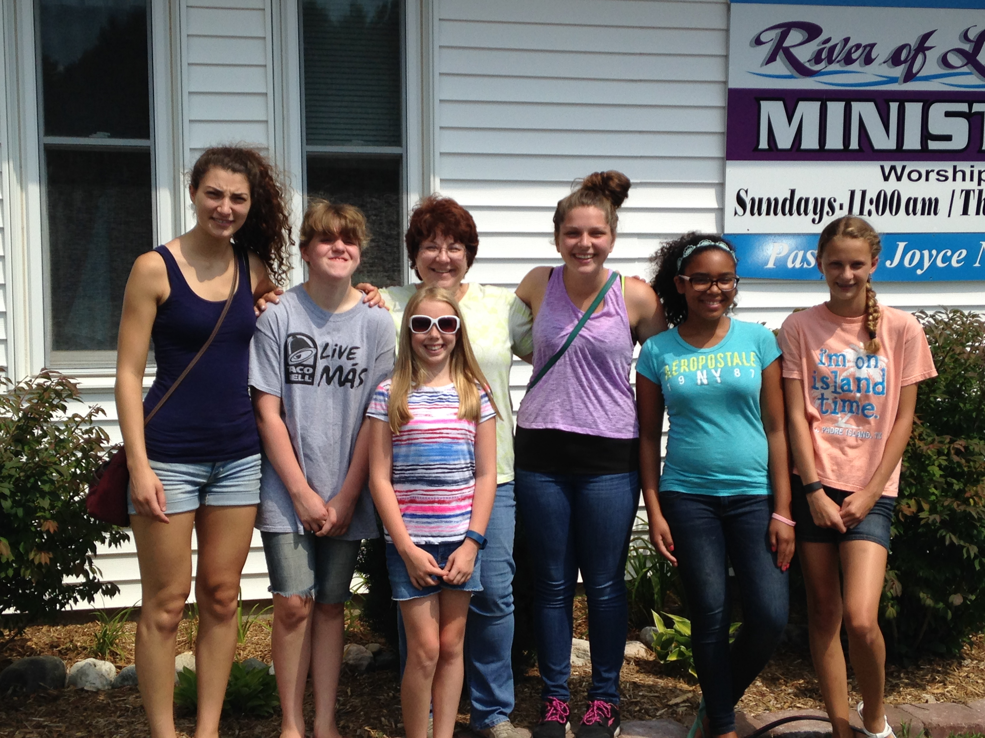 Kathy with youth group