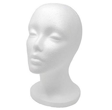 Styrofoam female mannequin head
