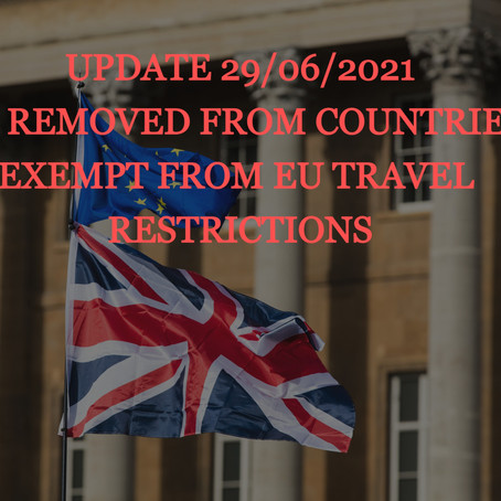 UPDATE 29/06/21: UK Removed From the List of Countries Exempt From EU Travel Restrictions!!!!
