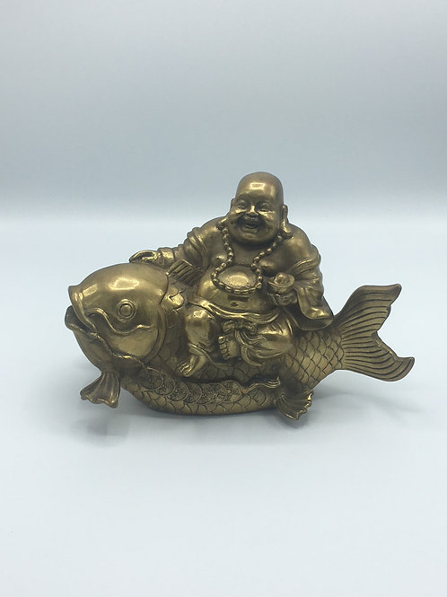 Brass Happy Buddha on Koi