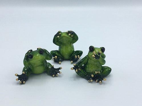 Hear No See No Speak No Evil Frog Statues