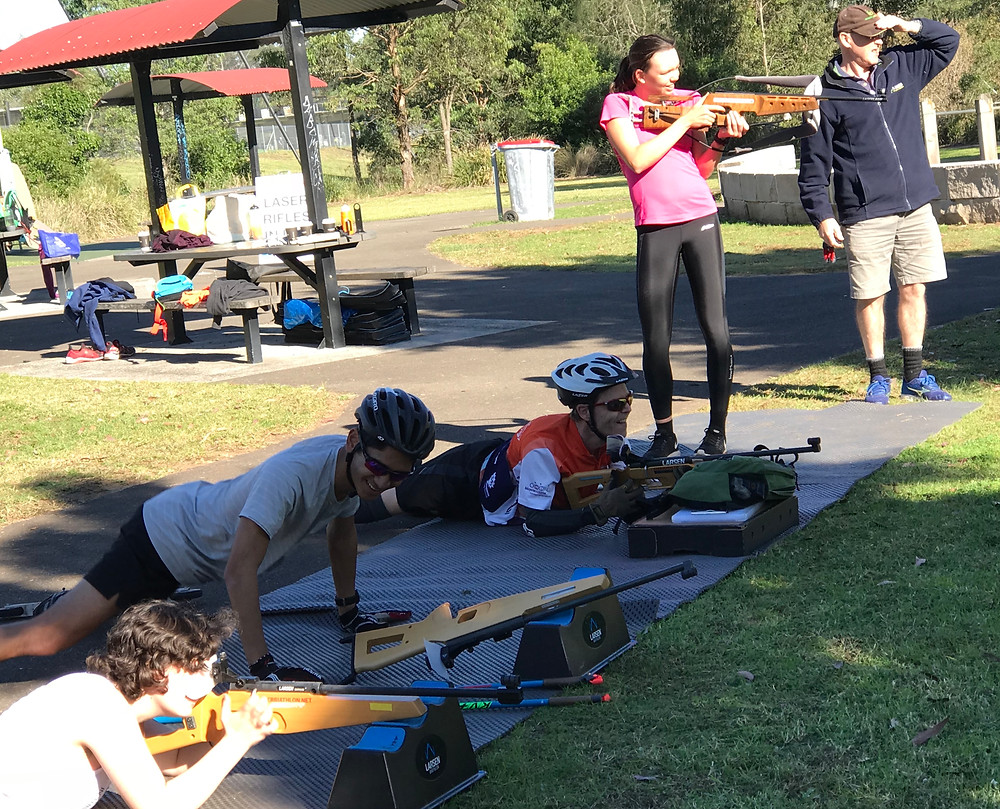 The group trying laser Biathlon
