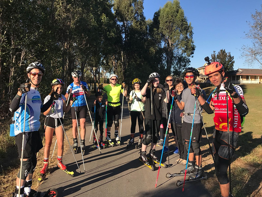 The group getting ready for our roller ski session