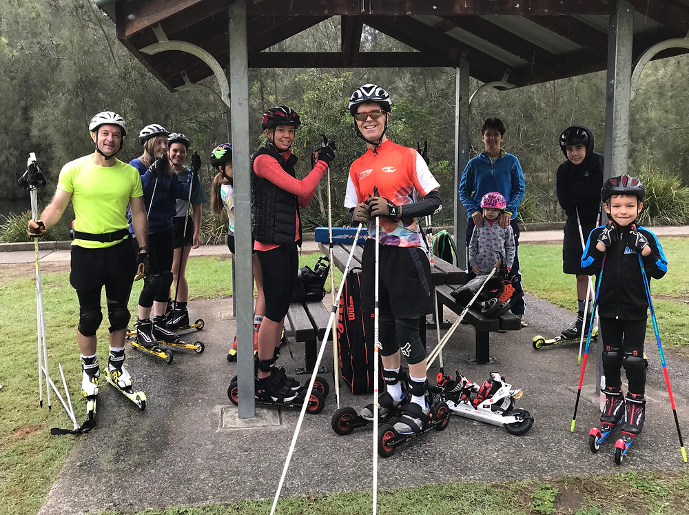 The group gets ready for roller ski training
