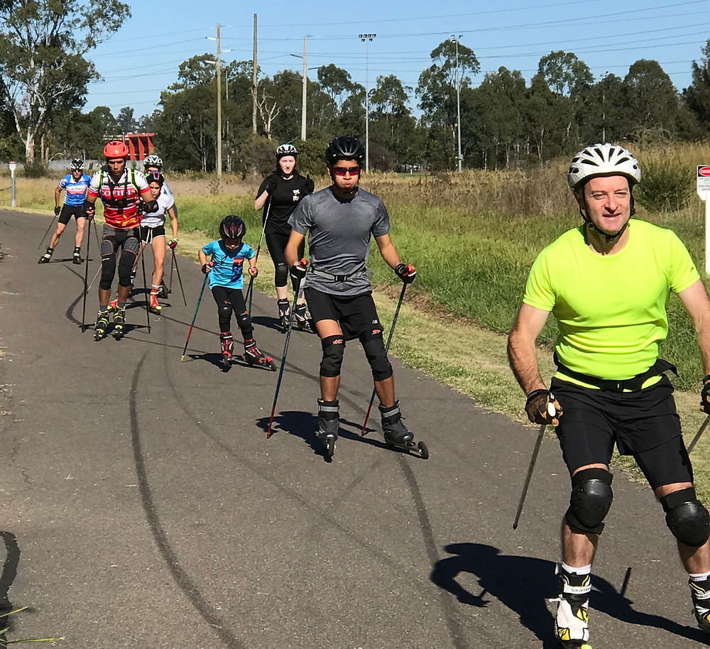 The group roller-skiing