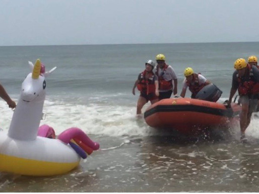 Sunday Survival Story! Boy drifted half a mile out to sea on a unicorn float in North Carolina