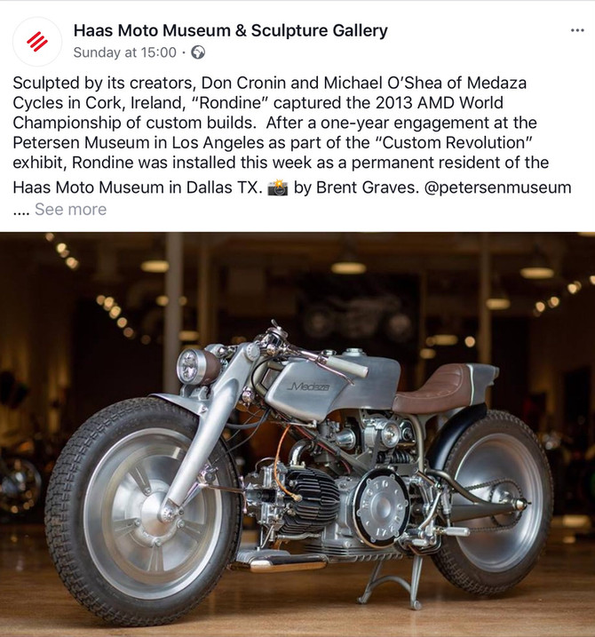Rondine finds a permanent home at the Haas Moto Museum, Dallas