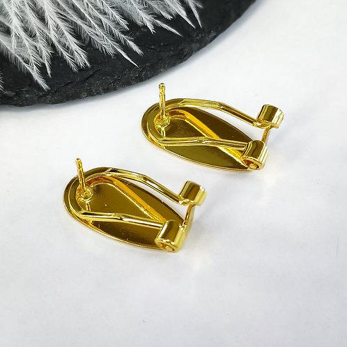 Пусеты-клипсы высокое качество гальванического покрытия, цвет золото (18мм)