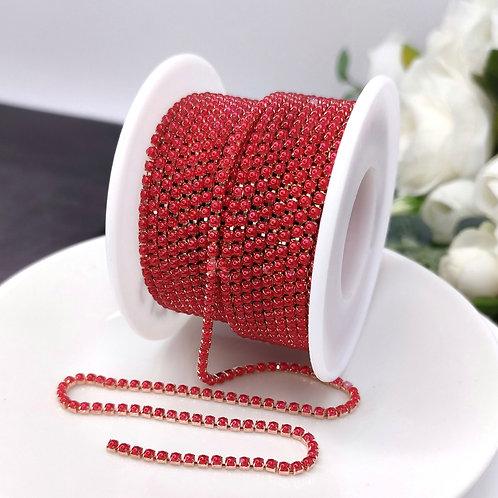 Жемчужная цепочка ~ Красная в оправе розовое золото 2мм (10см)