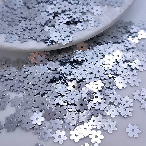Пайетки цветы Metallizzati  ~серебро~ 5мм Италия (1гр ≈230шт)