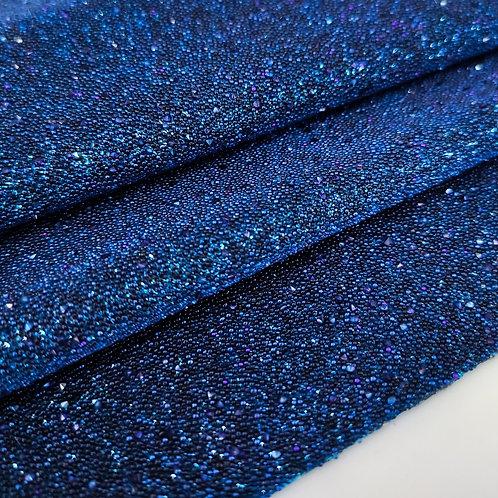 Кристальная ткань горячей фиксации синяя с мелкой крошкой 0.3мм (4*4см)