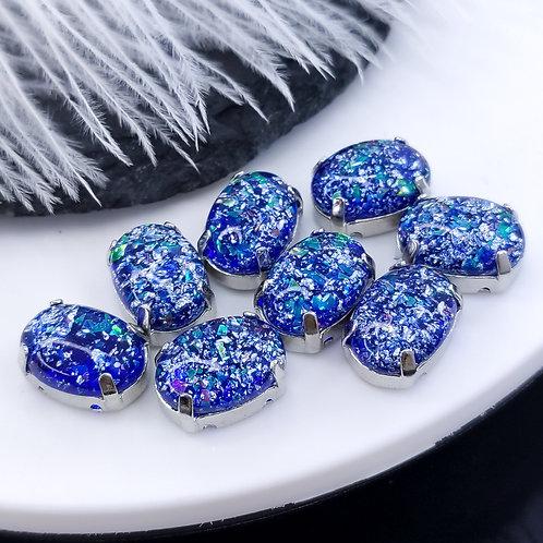 Овал из эпоксидной смолы синий 10*14мм в цапах серебро (медь)
