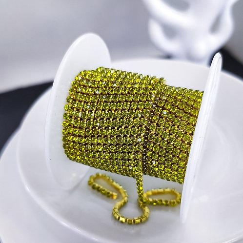 Стразовая цепь ~ Оливковая в золоте 2мм (10см)