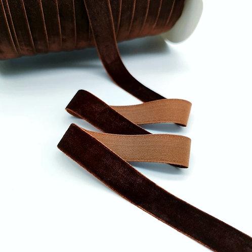 Бархатная лента 10мм, цвет шоколад (50см)