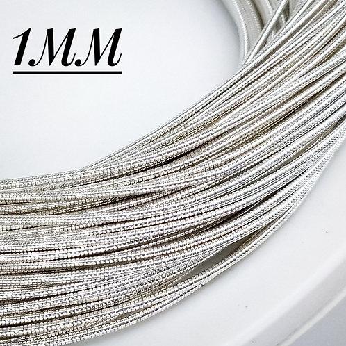 Канитель жесткая серебро 1мм (1метр)