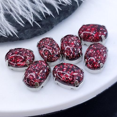 Овал из эпоксидной смолы бордовый 10*14мм в цапах серебро (медь)