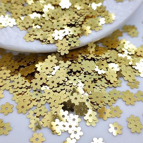 Пайетки цветы Metallizzati  ~золото~ 5мм Италия (1гр ≈230шт)