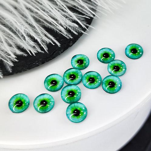 Глазки стеклянные бирюзовые 8мм (пара)
