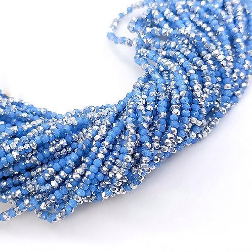 Рондели голубые посеребренные 1мм, 2мм