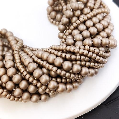 Жемчуг матовый бледно-коричневый (КНР) 3, 6мм