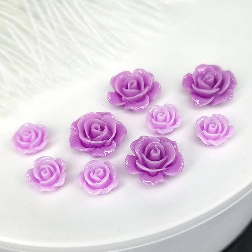 Кабошоны акриловые розы гленцевые 10, 15мм
