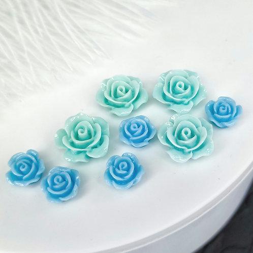 Кабошоны акриловые розы глянцевые 10, 15мм