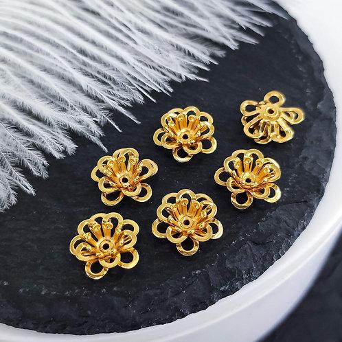 Металлический цветок, цвет золото 12*5мм
