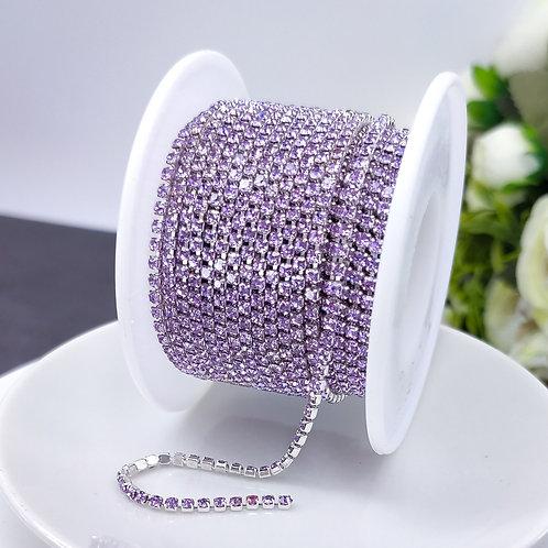 Стразовая цепь ~ Светло-фиолетовая в оправе серебро 2мм (10см)