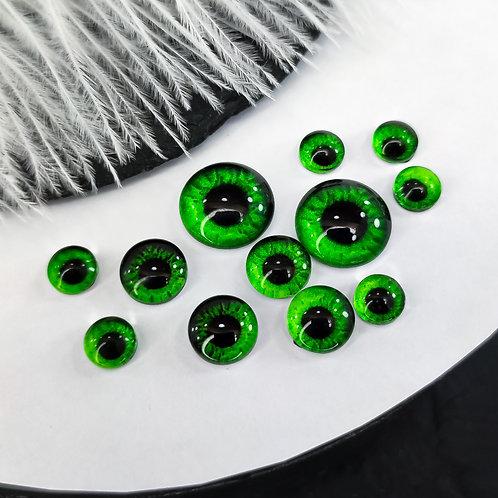 Глазки стеклянные зелёные темный градиент (пара)