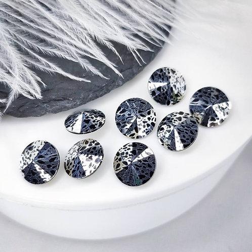 Премиум риволи черные с серебрянной патиной 12мм