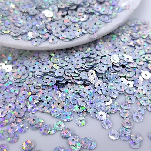 Пайетки круглые ~серебро голография~ 4мм Италия (1гр ≈300шт)