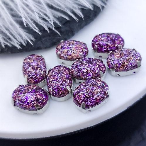 Овал из эпоксидной смолы фиолетовый 10*14мм в цапах серебро (медь)