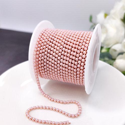 Жемчужная цепочка ~ Розовая в оправе розовое золото 2мм (10см)