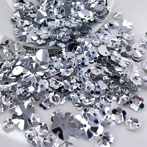 Микс пайеток серебрянный 5-15мм 2гр. (Индия)