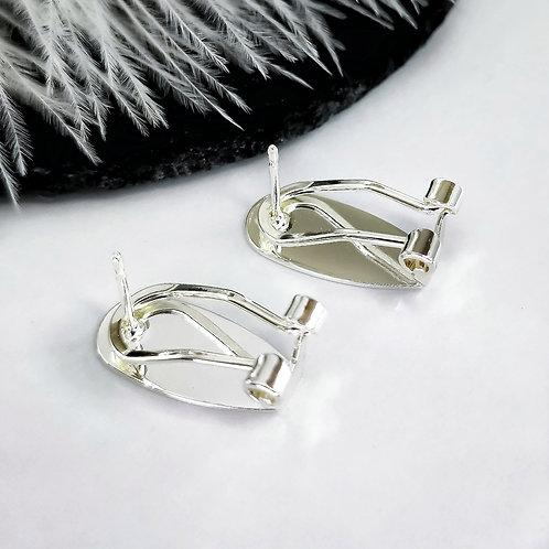 Пусеты-клипсы высокое качество гальванического покрытия, цвет серебро (18мм)
