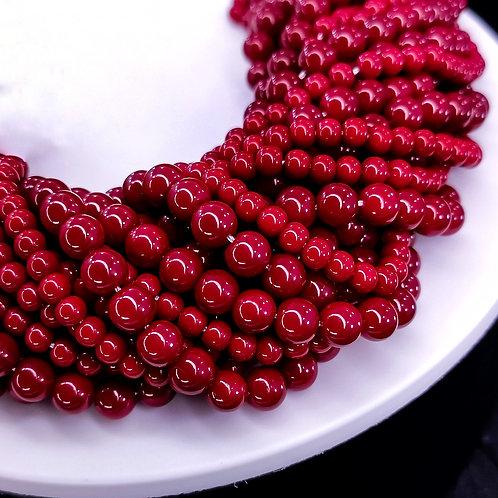 Жемчуг стеклянный запечёный глянец темно-красный 4,6мм