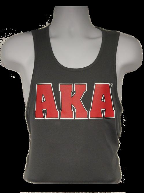 Men's AKA Classic Grey Tank Top w Red Logo