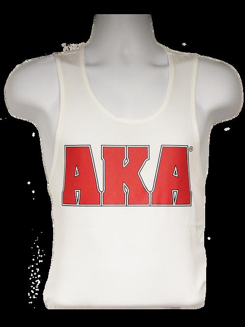 Men's AKA Classic White Tank Top w Red Logo