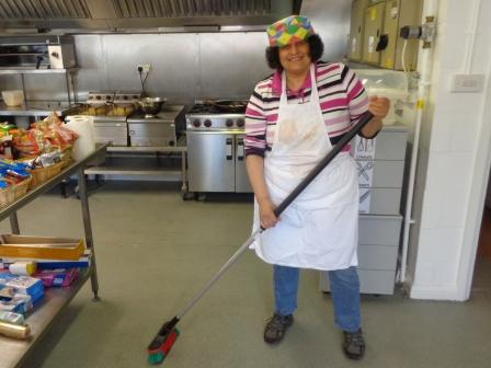 Sweeping in the Kitchen