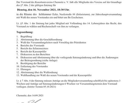 Einladung zur Mitgliederversammlung 2021 am 16.11.2021 und Antrag auf Satzungsänderung