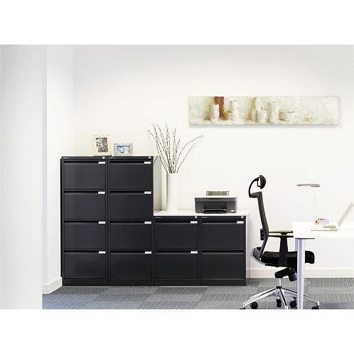Bisley 2 Drawer Filing Cabinet Flush Fronted Black